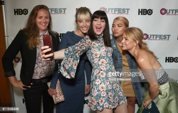 Singer/songwriter Alyssa Robbins Director Elizabeth Rohrbaugh Lena Hall Hayley Kiyoko and Mena Suvari pose for a selfie at the 2017 Outfest Los...