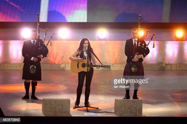 Singersongwriter Amy McDonald performs during the Opening Ceremony for the Glasgow 2014 Commonwealth Games at Celtic Park on July 23 2014 in Glasgow...
