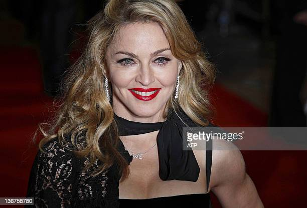 US singersongwriter and film actress and director Madonna arrives for the UK premiere of the film WE in London on January 11 2012 Directed and...