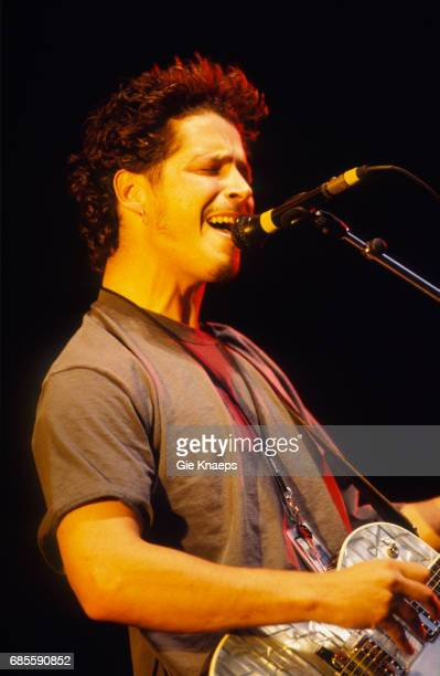 Singersongwriter and guitarist Chris Cornell performing with American rock group Soundgarden at the Pukkelpop Festival Hasselt Belgium 26th August...