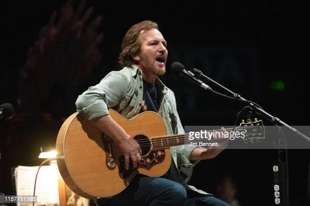 Singer-songwriter and guitarist Eddie Vedder performs live onstage at Wizink Center on June 22, 2019 in Madrid, Spain.
