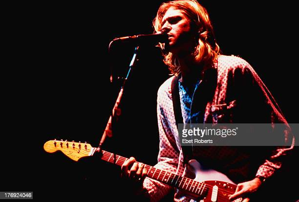 Singersongwriter and guitarist Kurt Cobain performing with American grunge band Nirvana at the Roseland Ballroom New York City 15th November 1993 He...