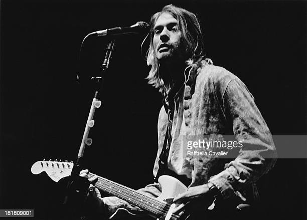 Singer-songwriter and guitarist Kurt Cobain performing with American grunge band Nirvana at Palasport, Modena, Italy, 21st February 1994.