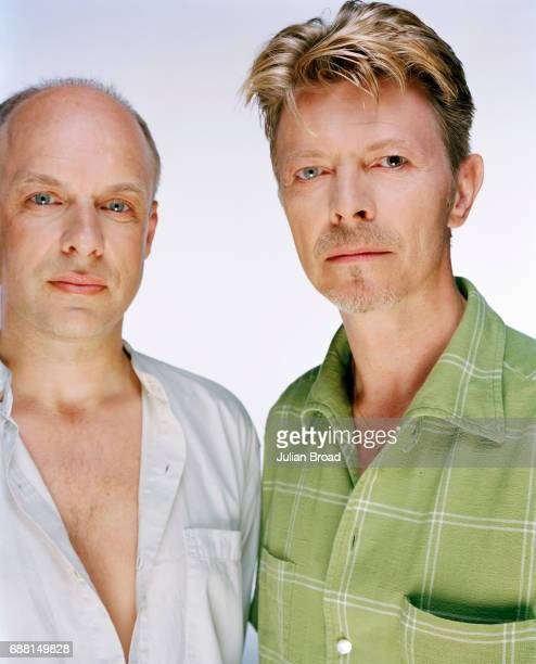 Singersongwriter and musician David Bowie with composer and record producer Brian Eno are photographed in London England