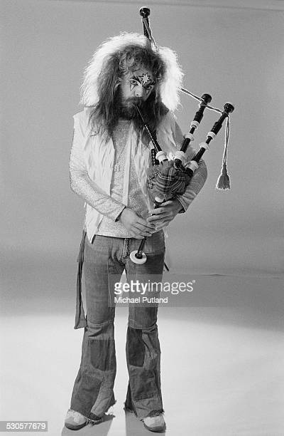 Singersongwriter and musician Roy Wood of English pop group Wizzard playing a set of bagpipes London 6th December 1974