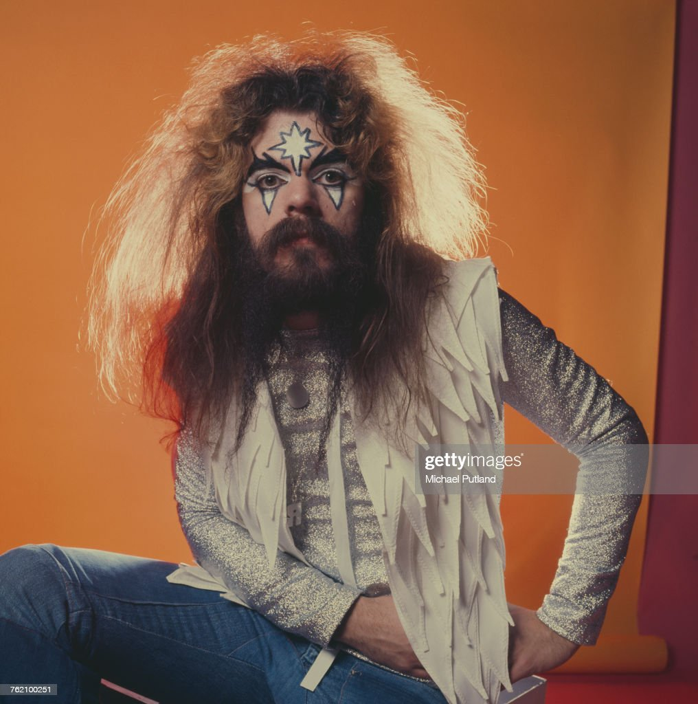 Singer-songwriter and musician Roy Wood, of English pop group Wizzard posed wearing glam rock style face make up, London, 6th December 1974.