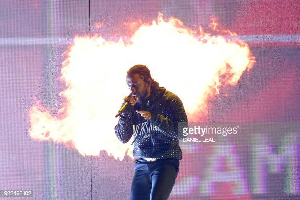 US singersongwriter and rapper Kendrick Lamar performs during the BRIT Awards 2018 ceremony and live show in London on February 21 2018 / AFP PHOTO /...