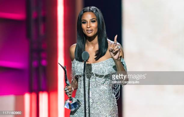 Singer-songwriter and Rock Star Award recipient Ciara speaks on stage during the 2019 Black Girls Rock! at NJ Performing Arts Center on August 25,...