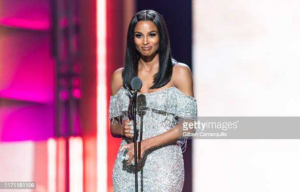 Singersongwriter and Rock Star Award recipient Ciara speaks on stage during the 2019 Black Girls Rock at NJ Performing Arts Center on August 25 2019...