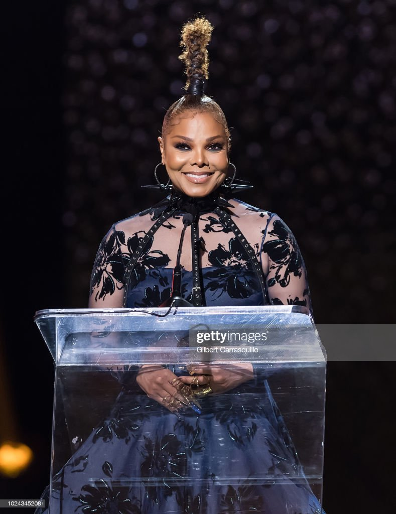 Singer-songwriter and Rock Star Award recipient Janet Jackson speaks on stage during the 2018 Black Girls Rock! at New Jersey Performing Arts Center on August 26, 2018 in Newark, New Jersey.