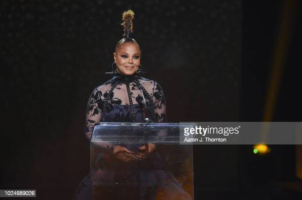 Singer/Songwriter and Rock Star Award recipient Janet Jackson speaks on stage during the 2018 Black Girls Rock at New Jersey Performing Arts Center...
