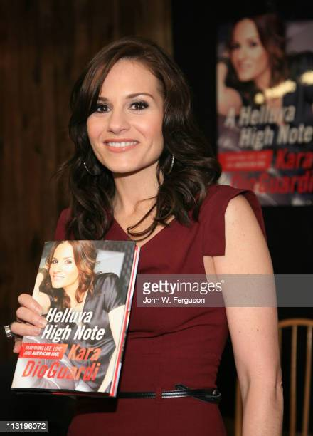 """Singer/songwriter and TV personality Kara DioGuardi promotes her new book """"A Helluva High Note"""" at Bookends Bookstore on April 26, 2011 in Ridgewood,..."""