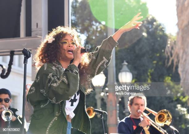 Singer/songwriter Andra Day performs onstage at 2018 Women's March Los Angeles at Pershing Square on January 20 2018 in Los Angeles California