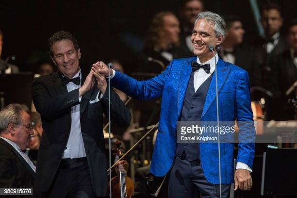 Singer/songwriter Andrea Bocelli and music director Eugene Kohn perform on stage at Valley View Casino Center on June 21 2018 in San Diego California