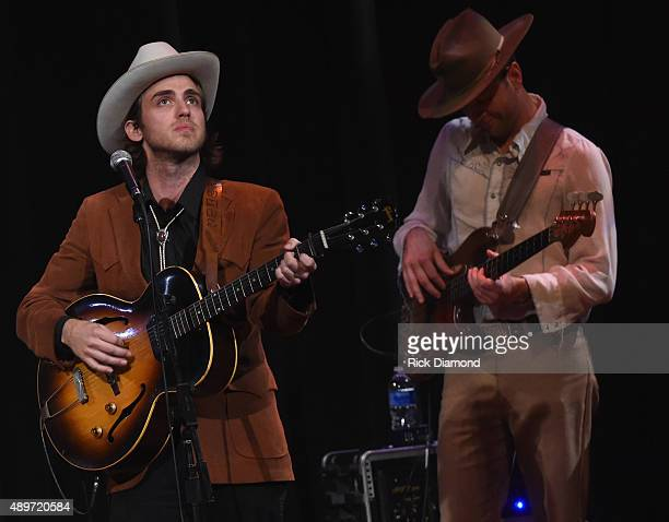 Singer/Songwriter Andrew Combs performs during The Kacey Musgraves Country Western Rhinestone Revue at the Ryman Auditorium on September 23 2015 in...
