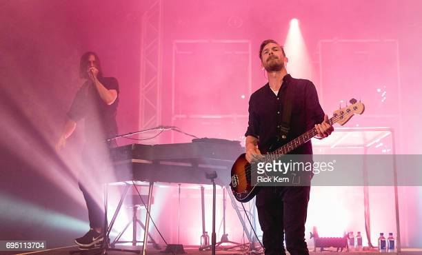 Singersongwriter Andrew Wyatt and Pontus Winnberg of Miike Snow perform of Miike Snow performs in concert at Stubb's BarBQ on June 11 2017 in Austin...