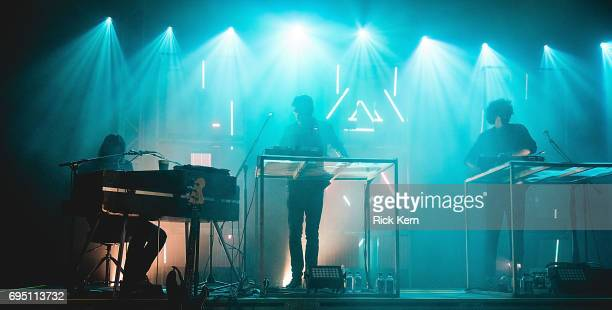 Singersongwriter Andrew Wyatt musicians Pontus Winnberg and Anthony Rossomando of Miike Snow perform of Miike Snow performs in concert at Stubb's...