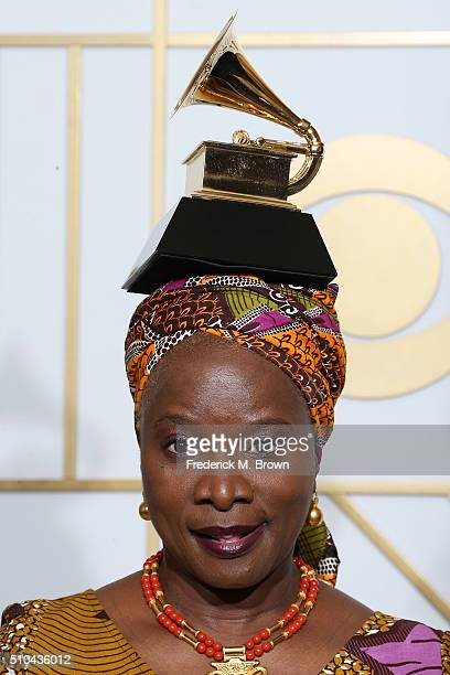 Singer/songwriter Angelique Kidjo poses in the press room during The 58th GRAMMY Awards at Staples Center on February 15 2016 in Los Angeles...