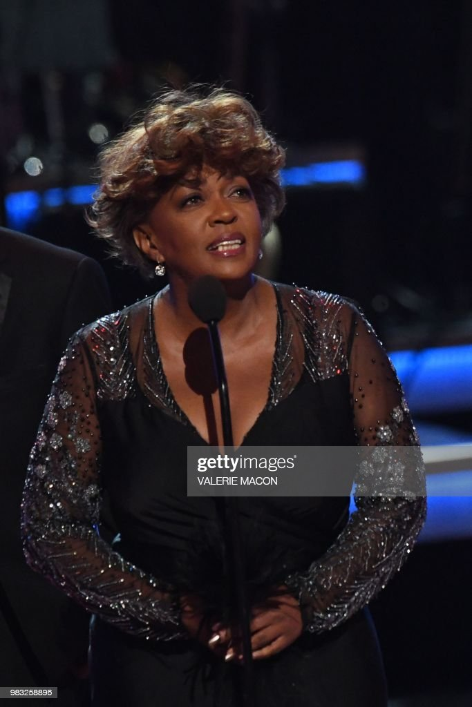 US singer-songwriter Anita Baker accepts the Lifetime Achievement Award onstage during the BET Awards at Microsoft Theatre in Los Angeles, California, on June 24, 2018.