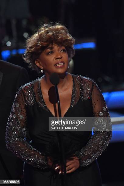 US singersongwriter Anita Baker accepts the Lifetime Achievement Award onstage during the BET Awards at Microsoft Theatre in Los Angeles California...