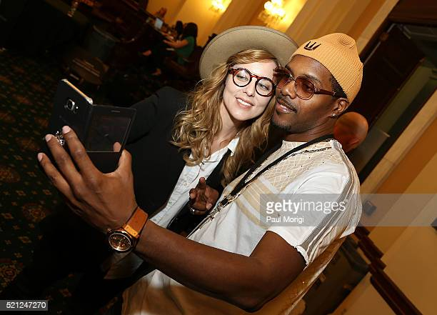 Singersongwriter Anna Nalick and Sean Matthews take a 'selfie' during GRAMMYs on The Hill Advocacy Day on Capitol Hill on April 14 2016 in Washington...