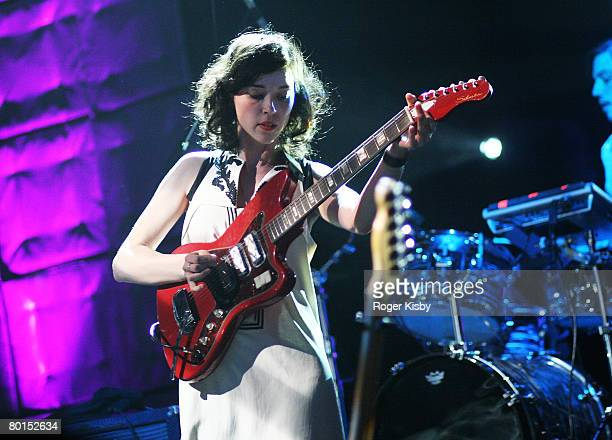 Singer/songwriter Annie Clark of St. Vincent performs onstage at the 2008 PLUG Independent Music Awards at Terminal 5 on March 6, 2008 in New York...