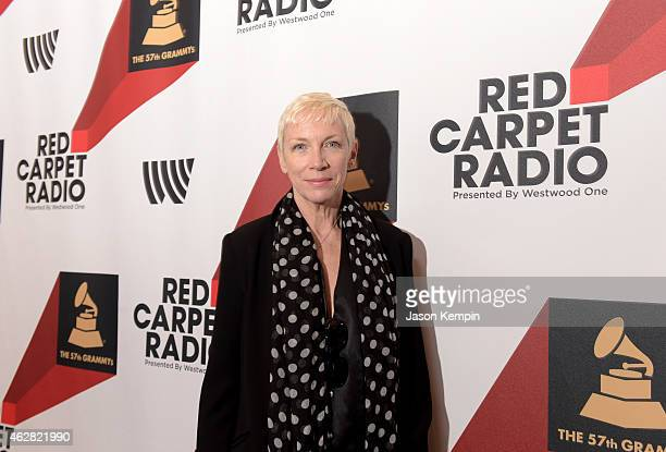 Singersongwriter Annie Lennox poses backstage at The GRAMMYs Westwood One Radio Remotes during The 57th Annual GRAMMY Awards at Staples Center on...