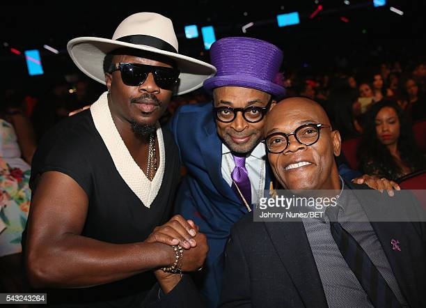 Singersongwriter Anthony Hamilton director Spike Lee and actor Samuel L Jackson attend the 2016 BET Awards at the Microsoft Theater on June 26 2016...