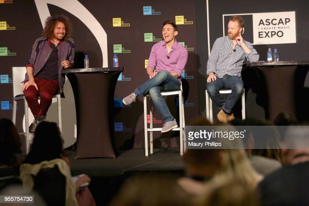 Singer/Songwriter Ari Herstand Head of Marketing and Publicity for LAFAMOS PR Hunter Scott and Producer Bill Lefler speak onstage at the 'How to Make...