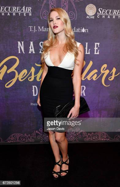 Singersongwriter Ashley Campbell attends Best Cellars Wine Dinner hosted by TJ Martell Foundation on April 24 2017 in Nashville Tennessee
