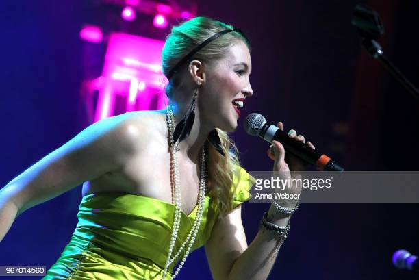Singersongwriter Ashley Campbell performs onstage during Nashville '80s Dance Party benefiting The Alzheimer's Association at Wildhorse Saloon on...