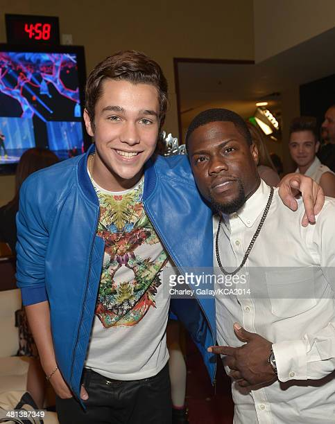 Singer/songwriter Austin Mahone and comedian Kevin Hart attend Nickelodeon's 27th Annual Kids' Choice Awards held at USC Galen Center on March 29...