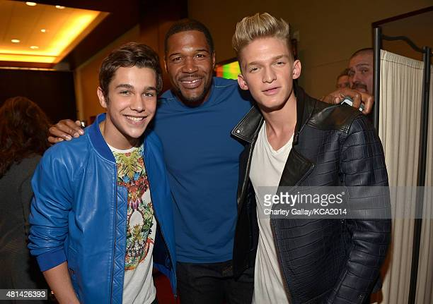 Singer/songwriter Austin Mahone TV personality Michael Strahan and singer/songwriter Cody Simpson attend Nickelodeon's 27th Annual Kids' Choice...