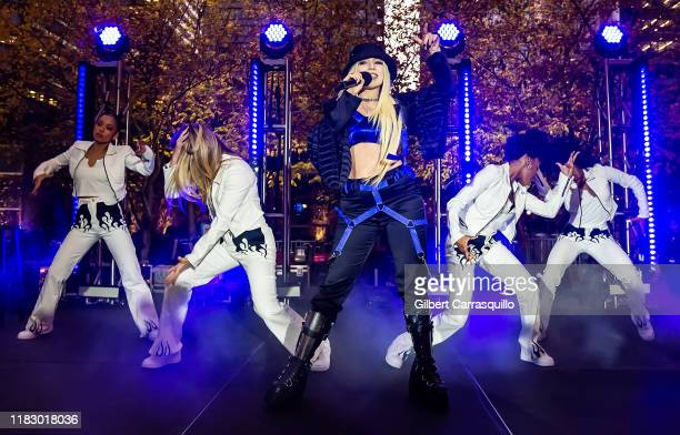 Singer-songwriter Ava Max performs during Four Seasons Hotel Grand Opening Celebration: Party On The Plaza at Comcast Center on October 23, 2019 in...