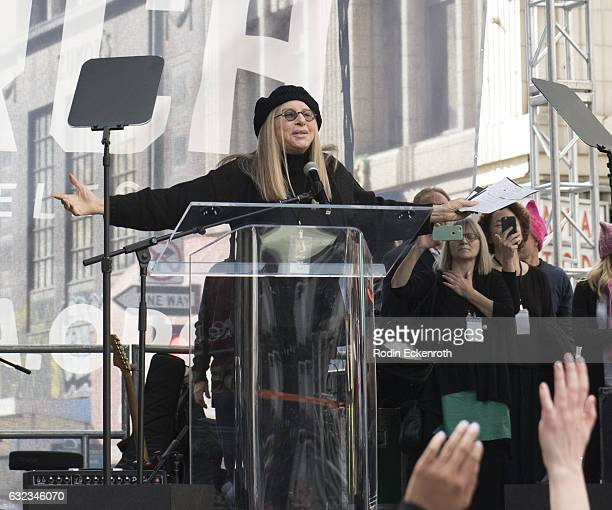 Singersongwriter Barbra Streisand speaks onstage at Women's March Los Angeles on January 21 2017 in Los Angeles California