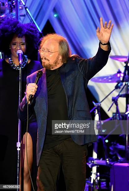 Singersongwriter Barry Gibb performs onstage at the PreGRAMMY Gala and Salute To Industry Icons honoring Martin Bandier at The Beverly Hilton Hotel...