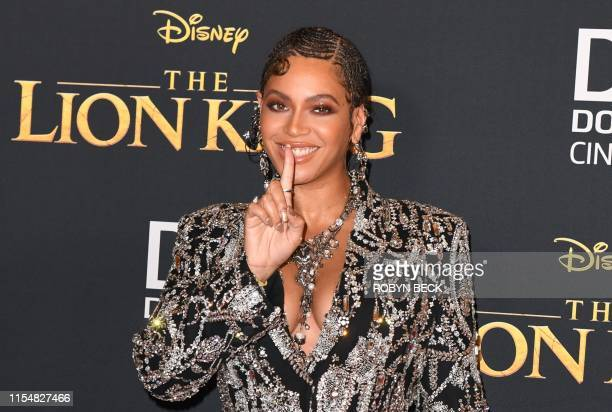 TOPSHOT US singer/songwriter Beyonce arrives for the world premiere of Disney's The Lion King at the Dolby theatre on July 9 2019 in Hollywood