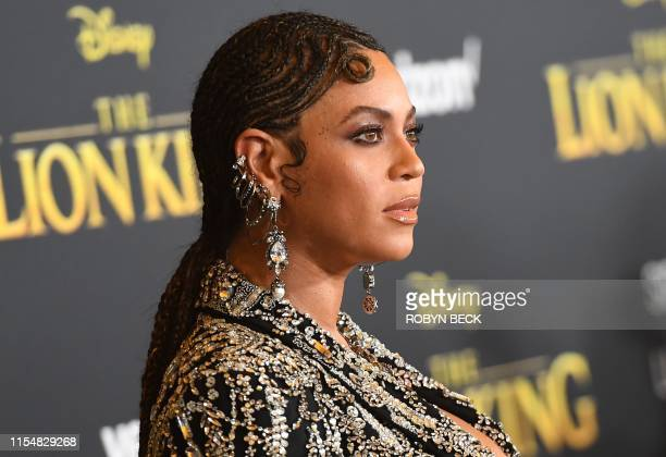 """Singer/songwriter Beyonce arrives for the world premiere of Disney's """"The Lion King"""" at the Dolby theatre on July 9, 2019 in Hollywood."""