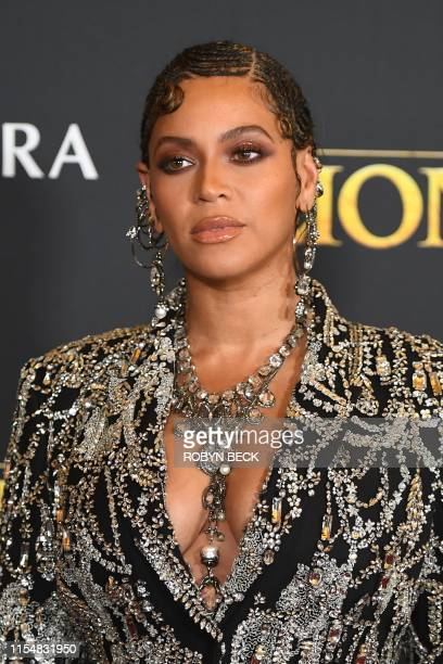 "Singer/songwriter Beyonce arrives for the world premiere of Disney's ""The Lion King"" at the Dolby theatre on July 9, 2019 in Hollywood."