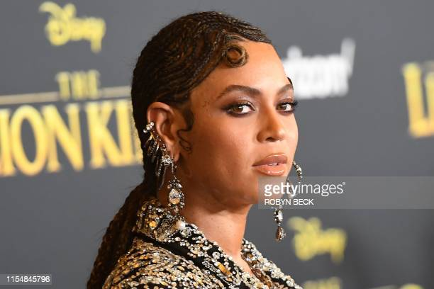 US singer/songwriter Beyonce arrives for the world premiere of Disney's The Lion King at the Dolby theatre on July 9 2019 in Hollywood