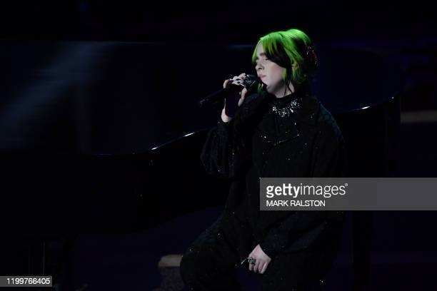US singersongwriter Billie Eilish performs onstage during the 92nd Oscars at the Dolby Theatre in Hollywood California on February 9 2020