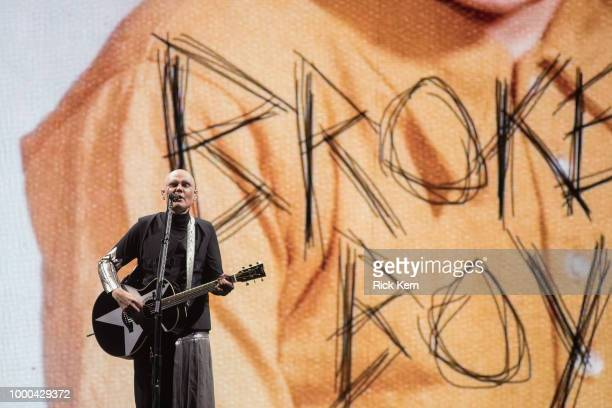 Singersongwriter Billy Corgan of The Smashing Pumpkins performs in concert during the 'Shiny and Oh So Bright' tour at The Frank Erwin Center on July...