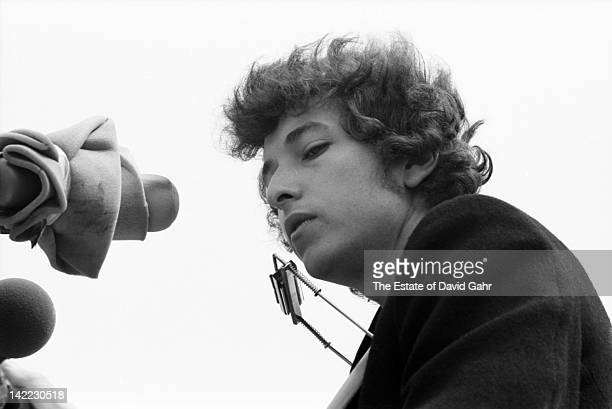 Singer/songwriter Bob Dylan performs at the Newport Folk Festival in July 1965 in Newport Rhode Island
