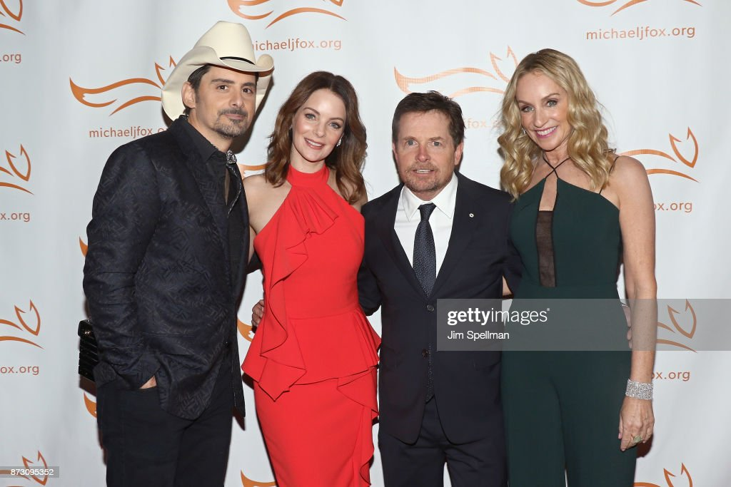 Singer/songwriter Brad Paisley, actors Kimberly Williams-Paisley, Michael J. Fox and Tracy Pollan attend the 2017 A Funny Thing Happened on the Way to Cure Parkinson's event at the Hilton New York on November 11, 2017 in New York City.