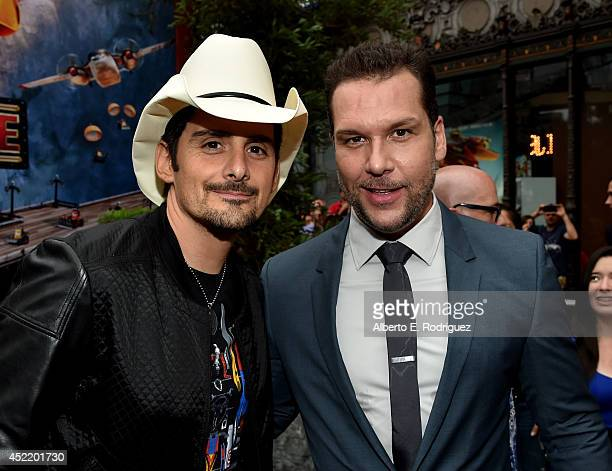 Singer/songwriter Brad Paisley and actor Dane Cook attend World Premiere Of Disney's 'Planes Fire Rescue' at the El Capitan Theatre on July 15 2014...