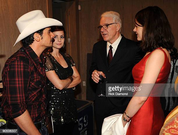 Singer/Songwriter Brad Paisley his wife Actress Kimberlly Williams chat backstage with Comedian/Musician Steve Martin and Wife Anne Stringfield at...