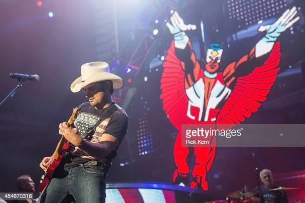 Singer-songwriter Brad Paisley performs in concert at Austin360 Amphitheater on September 4, 2014 in Austin, Texas.