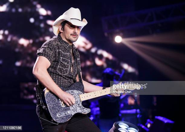 Singersongwriter Brad Paisley performs on stage at Abbotsford Centre on March 07 2020 in Abbotsford Canada