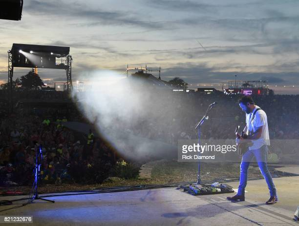 Singer/Songwriter Brad Tursi of Old Dominion performs during Country Thunder In Twin Lakes Wisconsin Day 3 on July 22 2017 in Twin Lakes Wisconsin