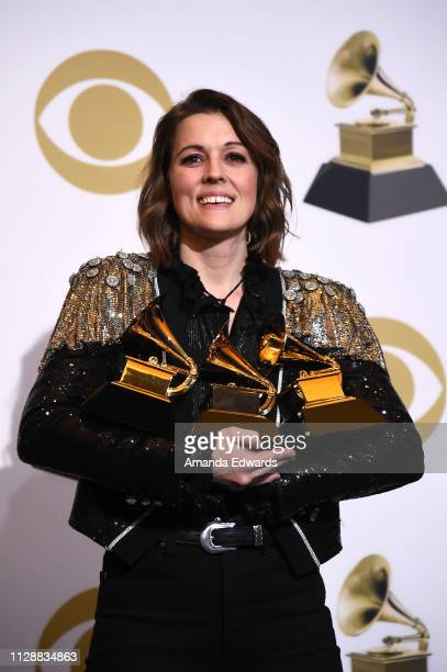 Singer/songwriter Brandi Carlile poses with her awards for Best American Roots Performance 'The Joke' Best American Roots song 'The joke' and Best...